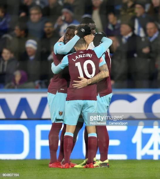 West Ham United's Marko Arnautovic celebrates scoring his side's second goal with Cheikhou Kouyate Arthur Masuaku and Manuel Lanzini during the...