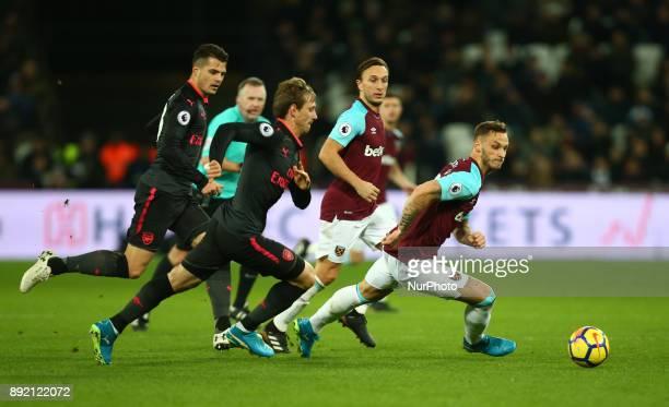 West Ham United's Marko Arnautovic during Premier League match between West Ham United against Arsenal at The London Stadium Queen Elizabeth II...