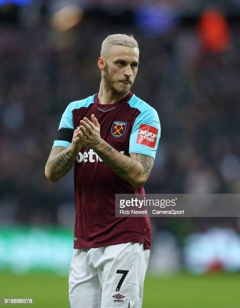 West Ham United's Marko Arnautovic during the Premier League match between West Ham United and Watford at London Stadium on February 10 2018 in...