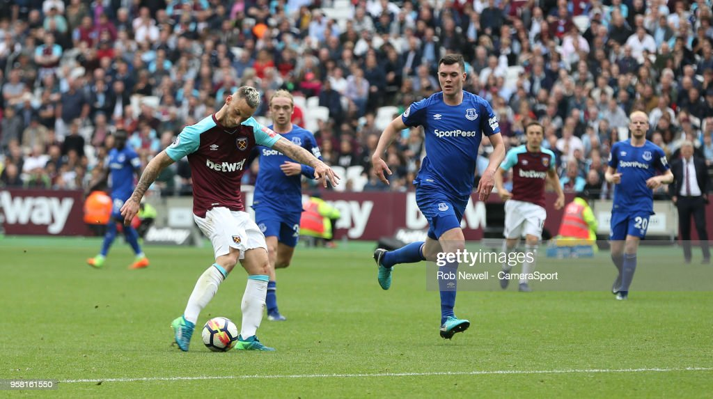 West Ham United's Marko Arnautovic scores his side's second goal during the Premier League match between West Ham United and Everton at London Stadium on May 13, 2018 in London, England.