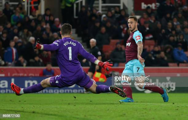 West Ham United's Marko Arnautovic with a shot in the first half saved by Stoke City's Jack Butland during the Premier League match between Stoke...