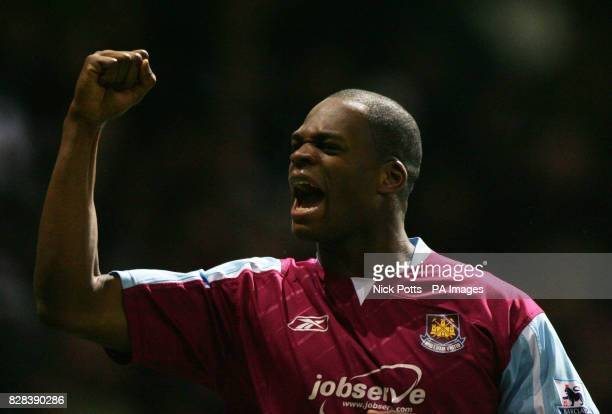West Ham United's Marlon Harewood celebrates his goal against Bolton Wanderers in extratime during the FA Cup fifth round replay match at Upton Park...