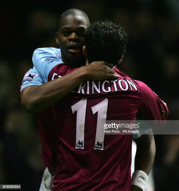 West Ham United's Marlon Harewood celebrates his winning goal against Bolton Wanderers with Matthew Etherington during the FA Cup fifth round replay...