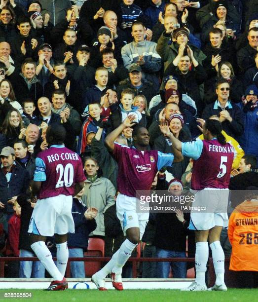West Ham United's Marlon Harewood celebrates scoring against Everton during the Barclays Premiership match at Upton Park east London Saturday March 4...