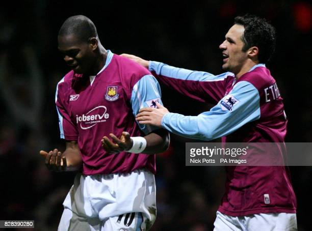 West Ham United's Marlon Harewood celebrates with Matthew Etherington after his goal against Bolton Wanderers in extratime during the FA Cup fifth...