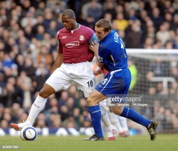 West Ham United's Marlon Harewood challenges Everton's Alan Stubbs during the Barclays Premiership match at Upton Park east London Saturday March 4...