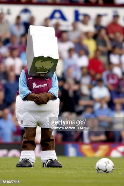 West Ham United's mascot Herbie Hammer observes the minute silence as a mark of respect to Jessica Chapman and Holly Wells