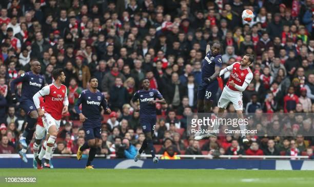West Ham United's Michail Antonio and Arsenal's Dani Ceballos during the Premier League match between Arsenal FC and West Ham United at Emirates...