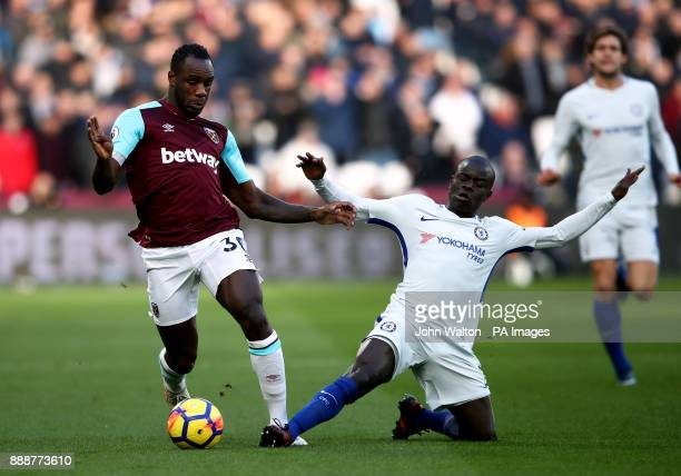 West Ham United's Michail Antonio and Chelsea's Ngolo Kante during the Premier League match at the London Stadium