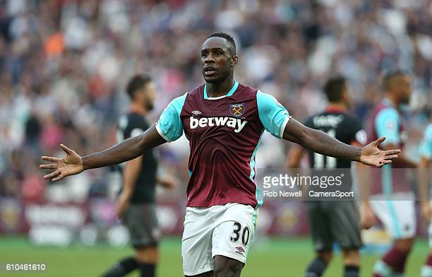 West Ham United's Michail Antonio appeals to the linesman for a penalty during the Premier League match between West Ham United and Southampton at...