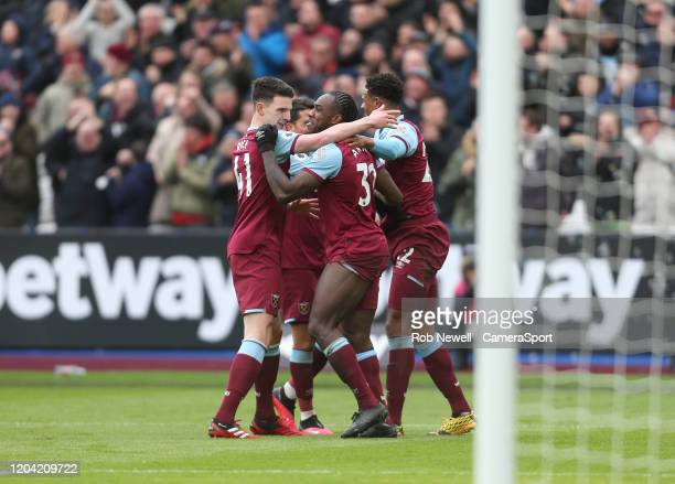 West Ham United's Michail Antonio celebrates scoring his side's third goal during the Premier League match between West Ham United and Southampton FC...