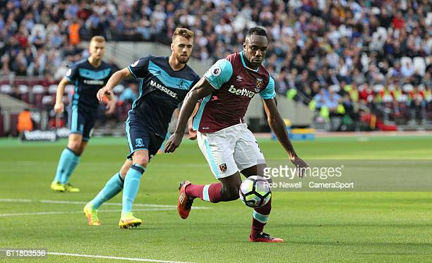 West Ham United's Michail Antonio during the Premier League match between West Ham United and Middlesbrough at Olympic Stadium on October 1 2016 in...
