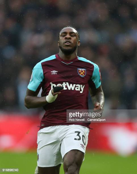 West Ham United's Michail Antonio during the Premier League match between West Ham United and Watford at London Stadium on February 10 2018 in London...