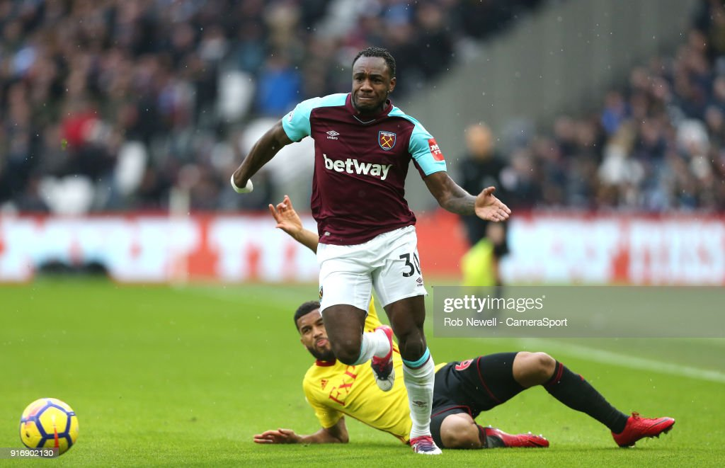 West Ham United's Michail Antonio during the Premier League match between West Ham United and Watford at London Stadium on February 10, 2018 in London, England.