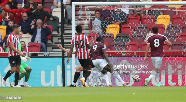 West Ham United's Michail Antonio scores in the first half but the goal was disallowed during the Pre-Season Friendly match between Brentford and...