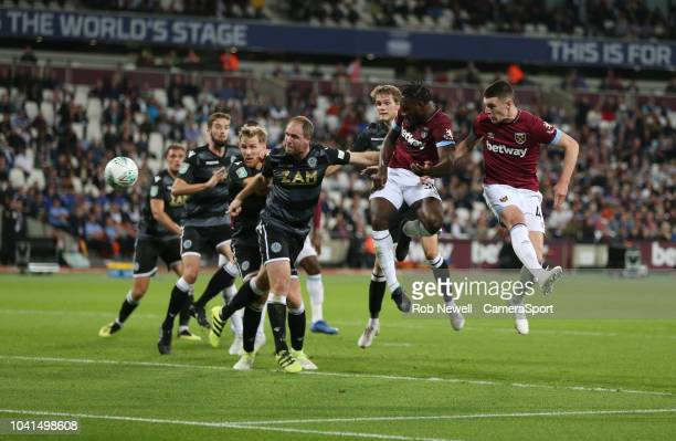 West Ham United's Michail Antonio with a header towards goal during the Carabao Cup Third Round match between West Ham United and Macclesfield Town...
