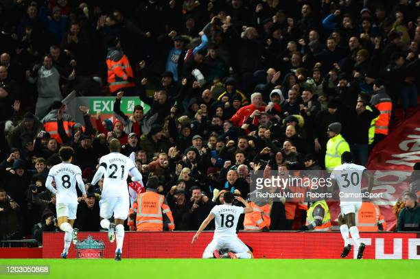 West Ham United's Pablo Fornals celebrates scoring his side's second goal during the Premier League match between Liverpool FC and West Ham United at...