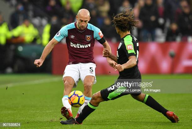 West Ham United's Pablo Zabaleta and AFC Bournemouth's Nathan Ake battle for the ball during the Premier League match at London Stadium