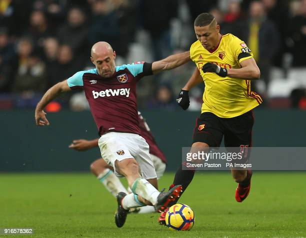 West Ham United's Pablo Zabaleta and Watford's Richarlison battle for the ball during the Premier League match at London Stadium