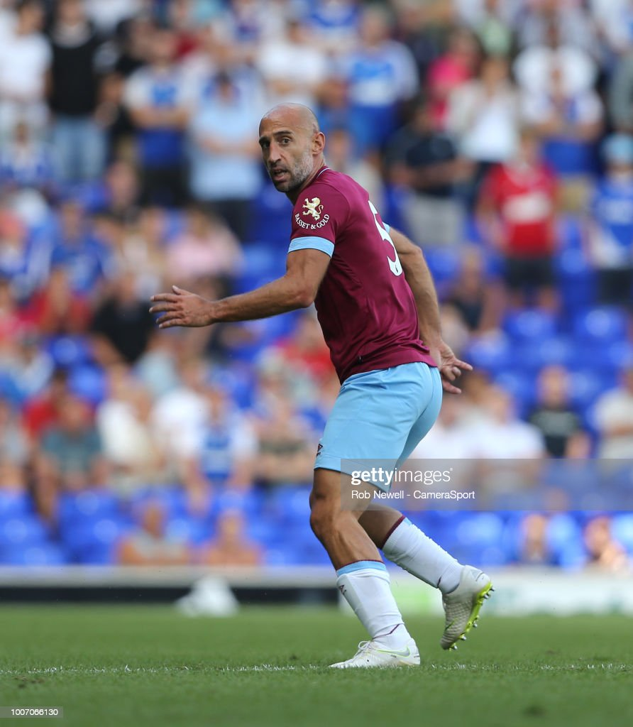 West Ham United's Pablo Zabaleta during the match between Ipswich Town and West Ham United at Portman Road on July 28, 2018 in Ipswich, England.