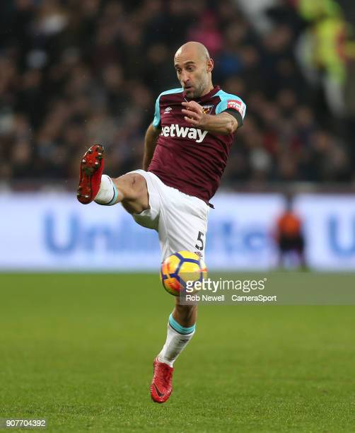 West Ham United's Pablo Zabaleta during the Premier League match between West Ham United and AFC Bournemouth at London Stadium on January 20 2018 in...