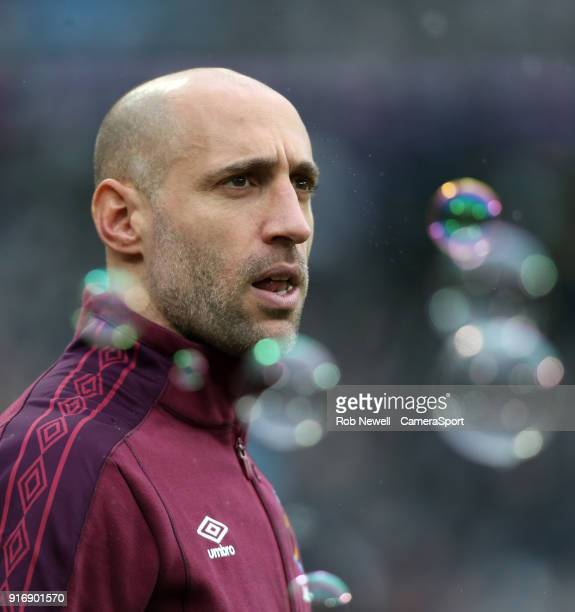 West Ham United's Pablo Zabaleta during the Premier League match between West Ham United and Watford at London Stadium on February 10 2018 in London...