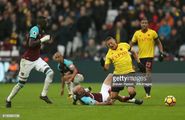 West Ham United's Pablo Zabaleta tackles Watford's Richarlison for the ball during the Premier League match at London Stadium