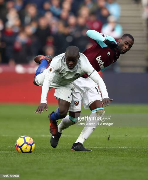 West Ham United's Pedro Obiang and Chelsea's Ngolo Kante during the Premier League match at the London Stadium