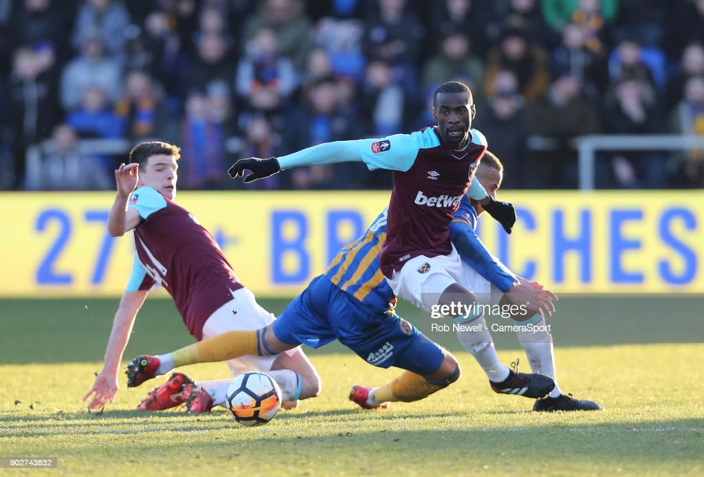 West Ham United's Pedro Obiang during the Emirates FA Cup Third Round match between Shrewsbury Town and West Ham United at New Meadow on January 7, 2018 in Shrewsbury, England.