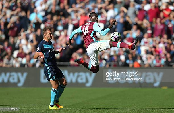 West Ham United's Pedro Obiang during the Premier League match between West Ham United and Middlesbrough at Olympic Stadium on October 1 2016 in...