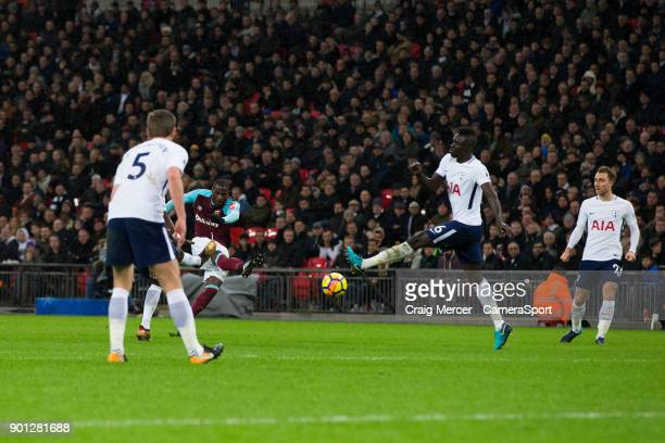 West Ham United's Pedro Obiang scores the opening goal during the Premier League match between Tottenham Hotspur and West Ham United at Wembley...