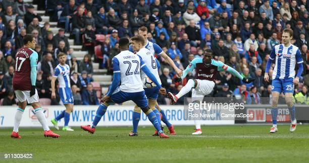 West Ham United's Pedro Obiang with a first half shot during the The Emirates FA Cup Fourth Round match between Wigan Athletic and West Ham United at...