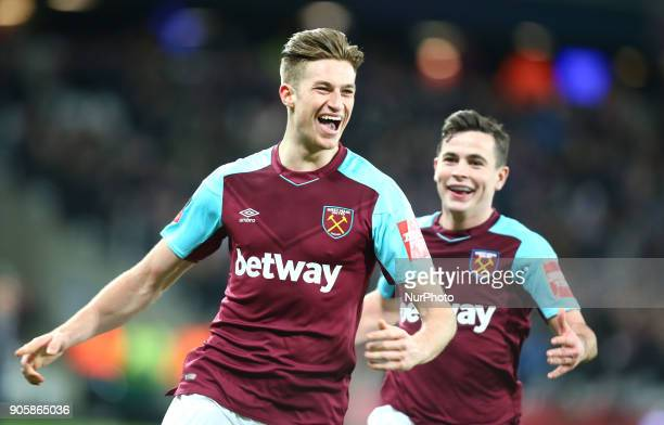 West Ham United's Reece Burke celebrates his goal during FA Cup 3rd Round reply match between West Ham United against Shrewsbury Town at The London...