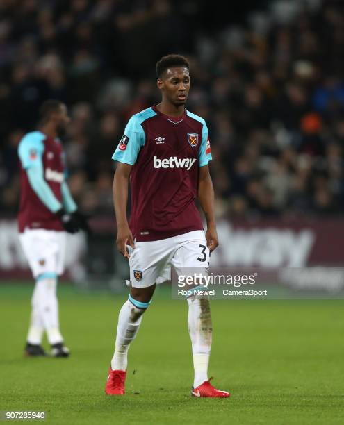 West Ham United's Reece Oxford during The Emirates FA Cup Third Round Replay match between West Ham United and Shrewsbury Town at London Stadium on...