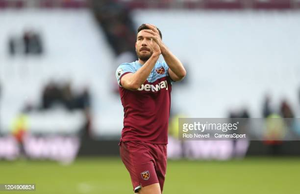 West Ham United's Robert Snodgrass during the Premier League match between West Ham United and Southampton FC at London Stadium on February 29 2020...