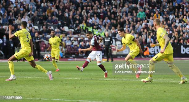 West Ham United's Said Benrahma with a first half shot during the Premier League match between West Ham United and Brentford at London Stadium on...