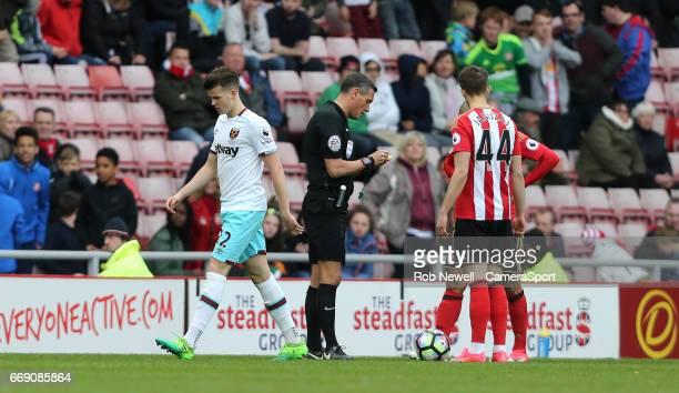 West Ham United's Sam Byram walks off after being sent off during the Premier League match between Sunderland and West Ham United at Stadium of Light...