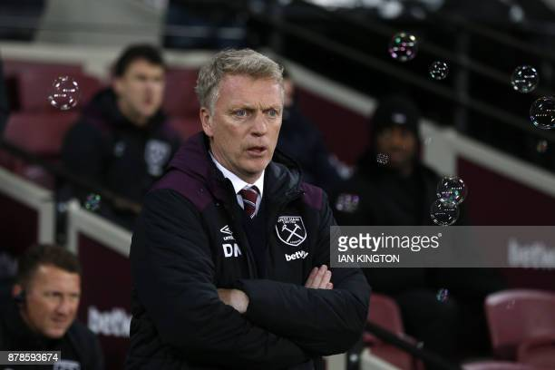 West Ham United's Scottish manager David Moyes gestures during the English Premier League football match between West Ham United and Leicester City...