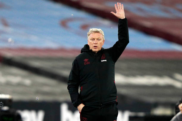 West Ham United's Scottish manager David Moyes gestures on the touchline during the English Premier League football match between West Ham United and...