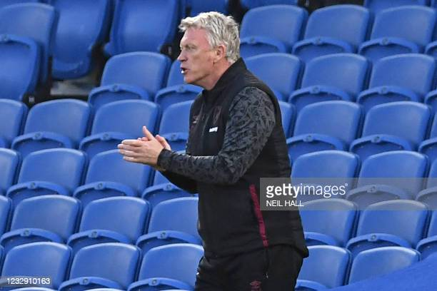 West Ham United's Scottish manager David Moyes gestures on the touchline during the English Premier League football match between Brighton and Hove...