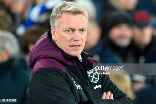 West Ham United's Scottish manager David Moyes is seen ahead of the English Premier League football match between Everton and West Ham United at...