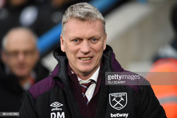 West Ham United's Scottish manager David Moyes is seen at the English Premier League football match between Huddersfield Town and West Ham United at...