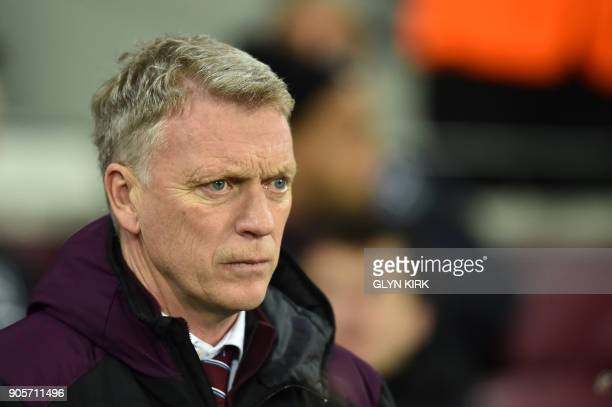 West Ham United's Scottish manager David Moyes looks on before the FA Cup third round replay football match between West Ham United and Shrewsbury...