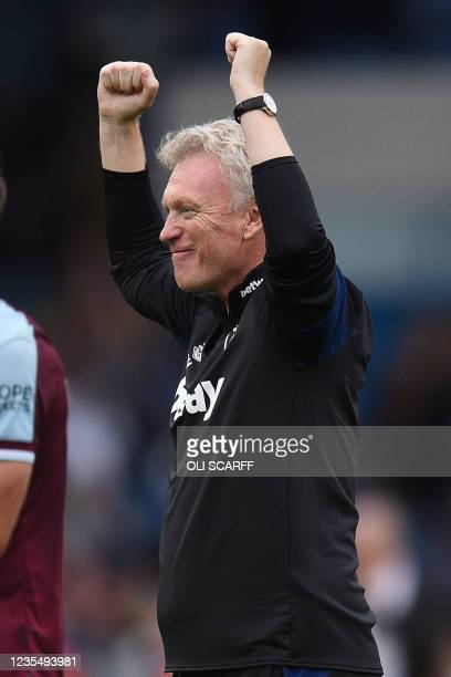 West Ham United's Scottish manager David Moyes reacts at the final whistle during the English Premier League football match between Leeds United and...
