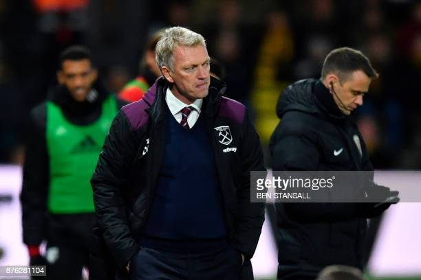 West Ham United's Scottish manager David Moyes watches the action from the touchline during the English Premier League football match between Watford...
