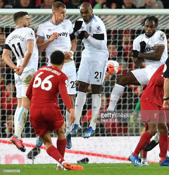 West Ham United's Scottish midfielder Robert Snodgrass West Ham United's Czech midfielder Tomas Soucek West Ham United's Italian defender Angelo...