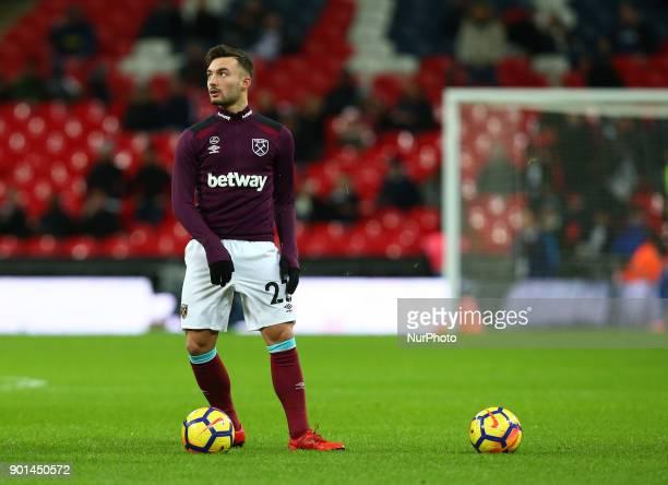 West Ham United's Sead Haksabanovic during Premier League match between Tottenham Hotspur against West Ham United at Wembley stadium London England...