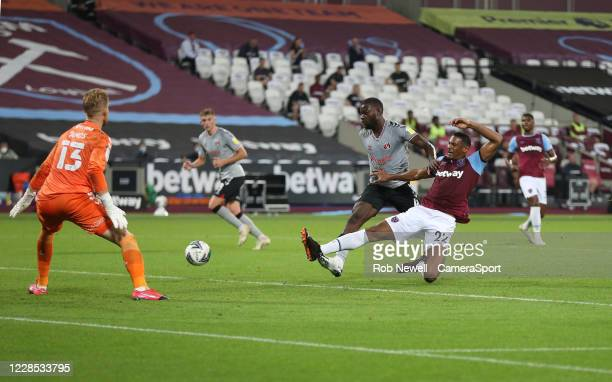 West Ham United's Sebastien Haller fails to connect with a cross in the first half during the Carabao Cup Second Round Northern Section match between...