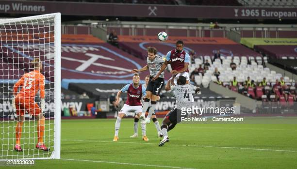 West Ham United's Sebastien Haller fails to connect with a first half header during the Carabao Cup Second Round Northern Section match between West...