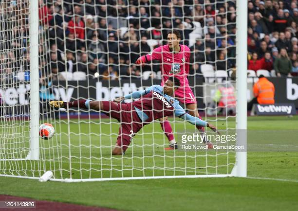 West Ham United's Sebastien Haller scores his side's second goal during the Premier League match between West Ham United and Southampton FC at London...